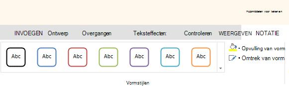 Hulpmiddelen voor vormen in de webversie van Office