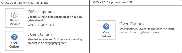 Graphic waarin wordt aangegeven hoe u kunt zien of de installatie van Office 2013 gebeurt met Klik-en-klaar of op basis van MSI