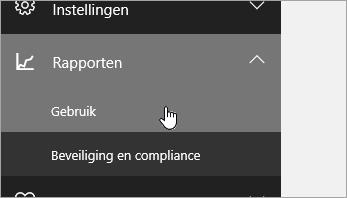 Klik in het beheercentrum op Rapporten en vervolgens op Gebruik.