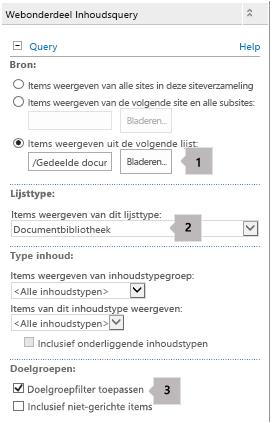 Lijst met eigenschappen van webonderdeel Inhoudsquery met drie bijschriften