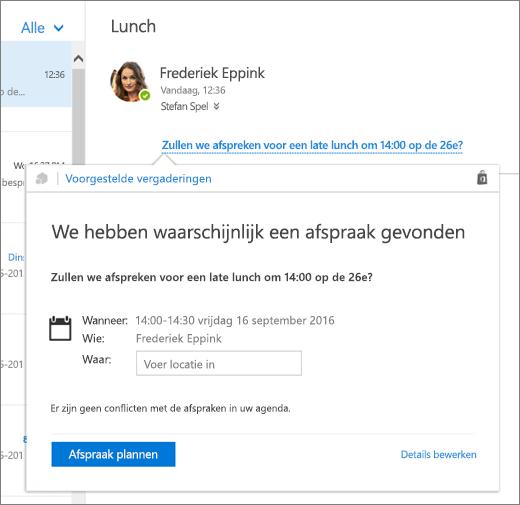 Schermafbeelding van een e-mailbericht met tekst over een vergadering en de kaart Voorgestelde vergaderingen met de details van vergadering en de opties voor het plannen en bewerken van de gebeurtenis.
