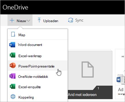 Bestanden maken in OneDrive voor Bedrijven