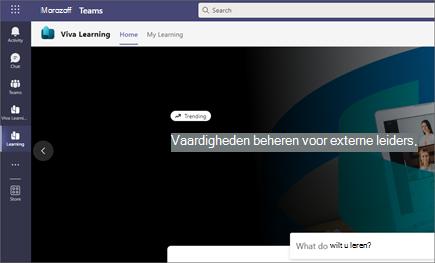 Op het tabblad Mijn leerproces wordt aanbevolen training en training van Microsoft en externe inhoudsproviders weergegeven