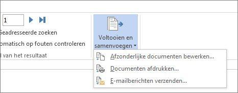 Schermafbeelding van het tabblad Verzendlijsten in Word, met de opdracht Voltooien en samenvoegen en de opties daarvan.