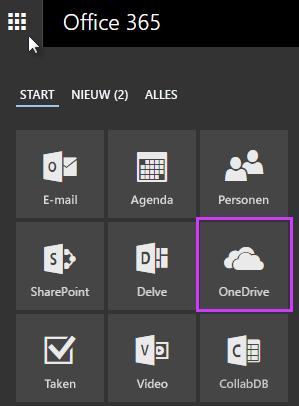 Het startprogramma voor apps in Office 365 gebruiken om naar OneDrive voor Bedrijven te gaan