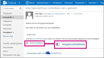 E-mail met gedeeld notitieblok