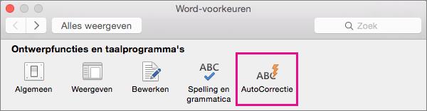Klik in Word-voorkeuren op AutoCorrectie als u wilt wijzigen wat er met AutoCorrectie wordt gewijzigd in uw document.