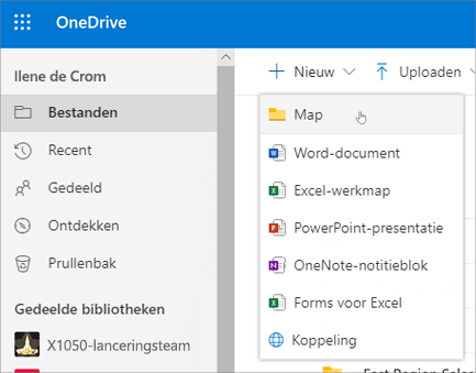 Map maken in OneDrive