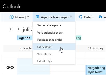 Schermopname van de lijst Agenda toevoegen met Van bestand geselecteerd.