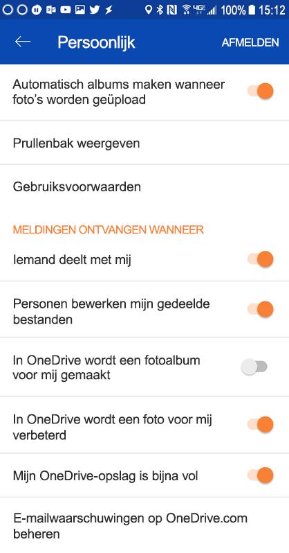 Ga naar de instellingen van uw OneDrive voor Android-app om de instellingen voor meldingen in te stellen.