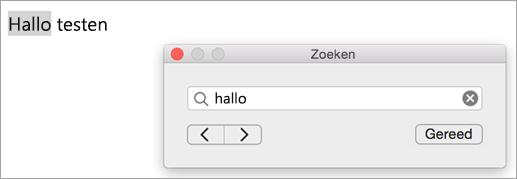 Toont zoekresultaten in het dialoogvenster Zoeken en het eerste exemplaar van de zoekterm gemarkeerd in het Outlook-item