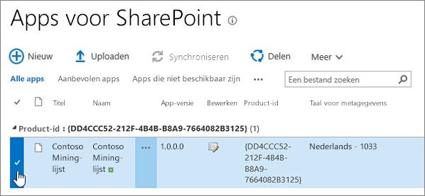 Apps voor SharePoint-apps-catalogus met de app geselecteerd