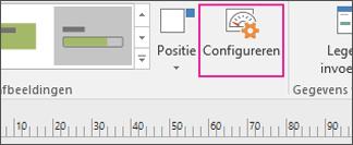 Gegevenstabblad, knop Configureren