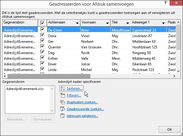 Als onderdeel van Afdruk samenvoegen in Word, resultaten van het sorteren van een adressenlijst.