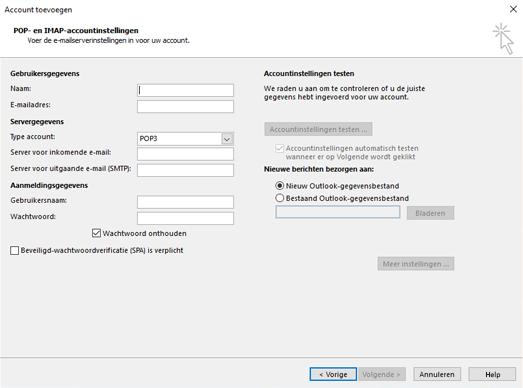 Uw POP- of IMAP-servergegevens invoeren