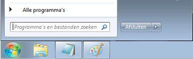 Menu Start met zoekvak in Windows 7