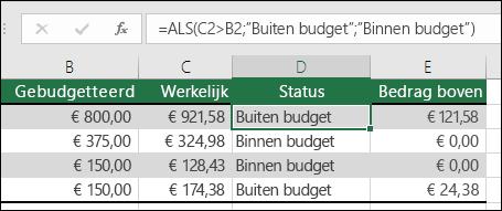 """De formule in cel D2 is =ALS(C2>B2;""""Budget overschreden"""";""""Binnen budget"""")"""