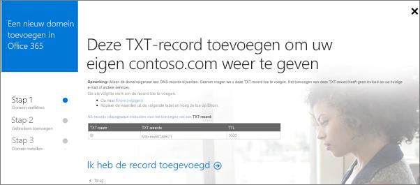 Voeg een TXT-record toe om te verifiëren dat u eigenaar bent van het domein.