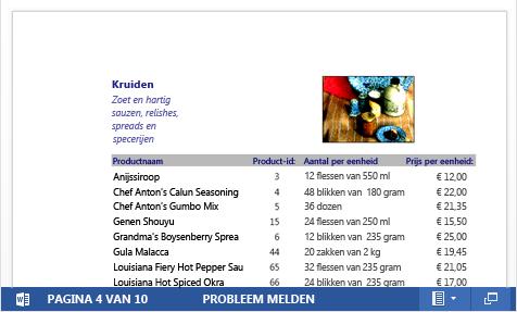 Een ingesloten PDF-bestand van een productcatalogus weergegeven in Word Web App