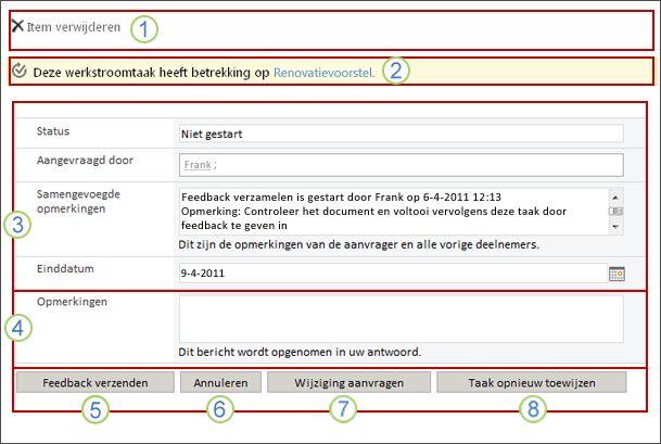 Het taakformulier voor het verzamelen van feedback met genummerde besturingselementen