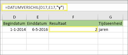 """= DATUMVERSCHIL (D17, E17;, """"y"""") en resultaat: 2"""