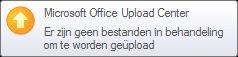 waarschuwingspop-up van het upload center