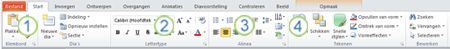 het tabblad start op het lint van powerpoint 2010.