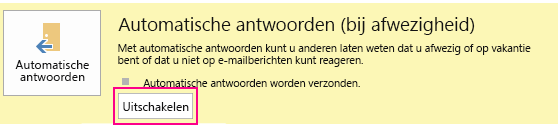 Schermafbeelding van het dialoogvenster Automatische antwoorden uitschakelen in Outlook