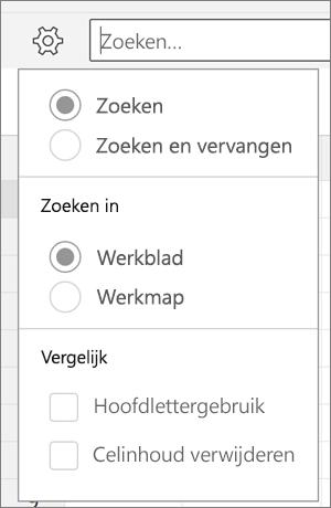 De opties Zoeken, Zoeken en vervangen, Blad, Werkmap, Letters en Volledige celinhoud voor Zoeken in Excel voor Android.