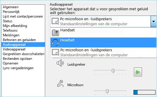 Schermafbeelding van venster met audioapparaten
