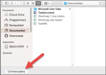 """Het menu Bestand openen, met de weergave """"Op mijn Mac"""" zichtbaar."""