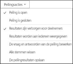 Schermafbeelding van peilingsacties
