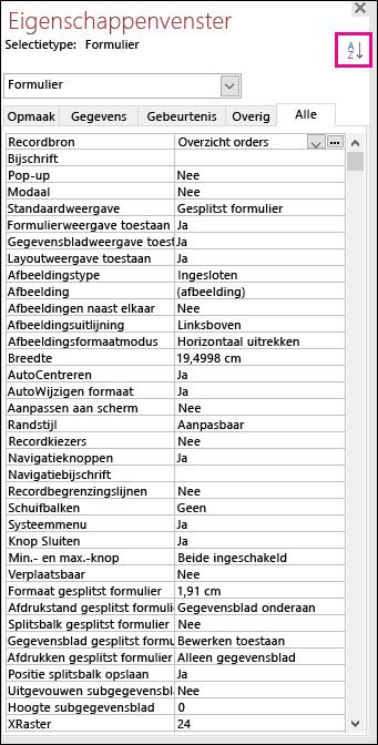 Schermafbeelding van Access-eigenschappenvenster zonder alfabetisch gesorteerd eigenschappen