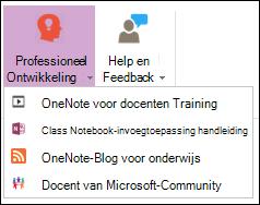 Schermafbeelding van beschikbare knoppen op het tabblad Professional ontwikkeling