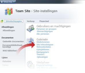 Site-inhoudstypen selecteren in het venster Site-instellingen
