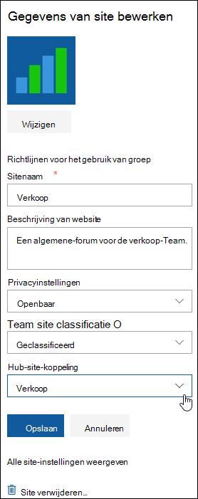 Een SharePoint-site koppelen aan een hubsite weergeven