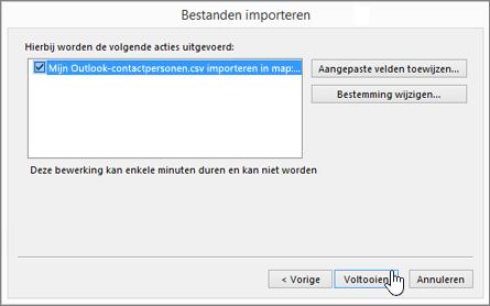Klik op de knop Voltooien om de migratie te starten wanneer u Gmail-contactpersonen naar uw Office 365-postvak wilt importeren