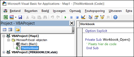 ThisWorkbook-module in Visual Basic Editor (VBE)
