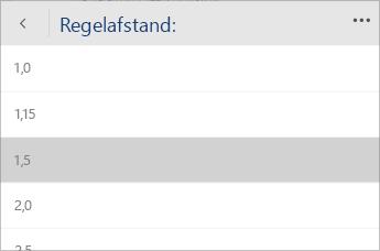 Schermafbeelding van het Word Mobile-menu voor het selecteren van de regelafstand.