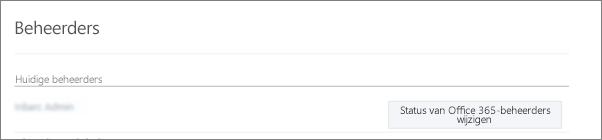 Schermafbeelding van een Gecontroleerde beheerder-account dat in Office 365 als een hoofdbeheerder is gesynchroniseerd
