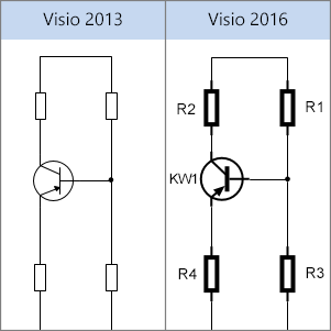 Shapes voor elektrische apparaten in Visio 2013, shapes voor elektrische apparaten in Visio 2016
