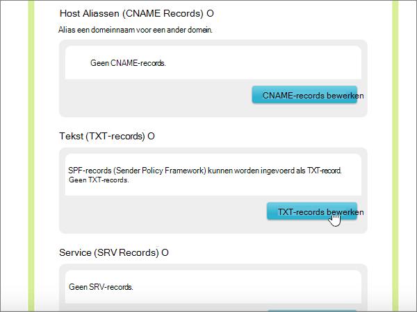 Klikken op TXT-records bewerken