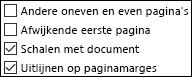Opties voor kop- en voetteksten in het dialoogvenster Pagina-instelling