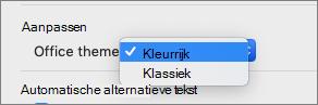 De Office-thema vervolgkeuzelijst waarin de gebruiker Kleurrijk of klassieke thema kunt selecteren