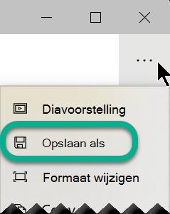 Selecteer op de werkbalk de drie puntjes om het menu meer weergeven te openen en selecteer vervolgens opslaan als.