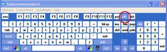 Windows-schermtoetsenbord met Scroll Lock-toets