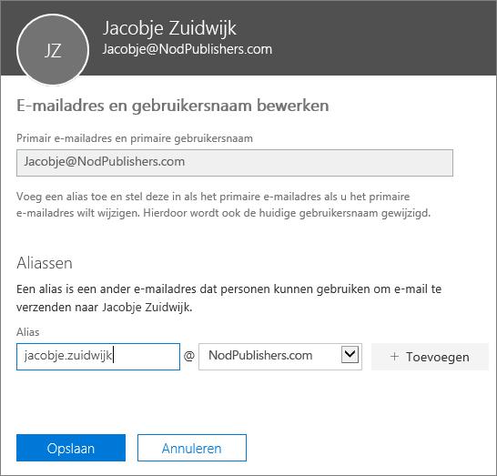 Het venster voor het bewerken van e-mailadressen en gebruikersnamen met het primaire e-mailadres en een nieuwe toe te voegen alias.