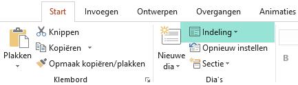 Met de knop Indeling op het tabblad Start in PowerPoint worden alle beschikbare dia-indelingen weergegeven