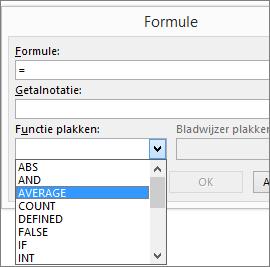 De plakfuncties van een formule worden weergegeven op het tabblad Hulpmiddelen voor tabelindeling.