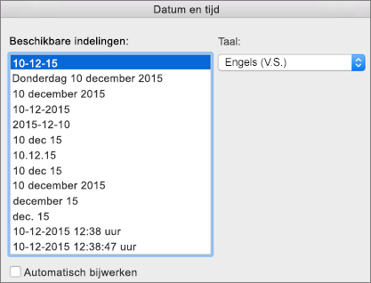 Dialoogvenster Datum en tijd
